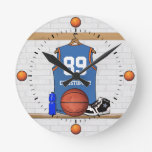 Jersey anaranjado azul claro personalizado del relojes de pared