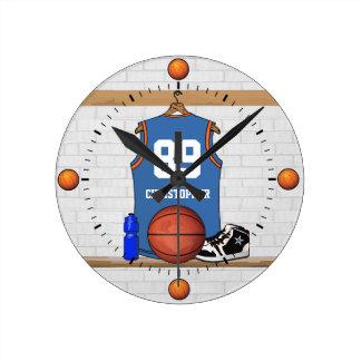 Jersey anaranjado azul claro personalizado del reloj redondo mediano