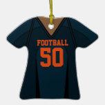 Jersey azul/anaranjado personalizado 50 V2 del fút Ornamentos De Navidad