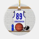 Jersey azul blanco personalizado del baloncesto ornamento de navidad