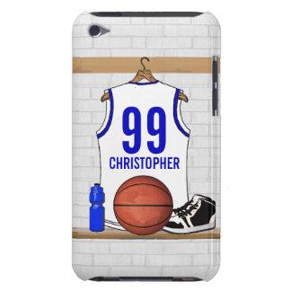 Jersey azul blanco personalizado del baloncesto iPod touch Case-Mate funda