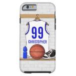 Jersey azul blanco personalizado del baloncesto funda de iPhone 6 tough