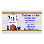 Jersey azul blanco personalizado del baloncesto tarjetas personales