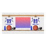Jersey azul blanco personalizado del baloncesto tarjetas personales con fotos