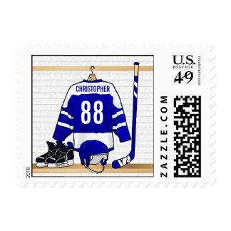 Jersey azul blanco personalizado del hockey sobre envio