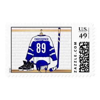 Jersey azul blanco personalizado del hockey sobre sello