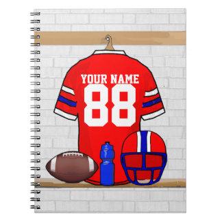 Jersey azul blanco rojo personalizado del fútbol libro de apuntes