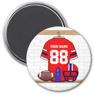 Jersey azul blanco rojo personalizado del fútbol imán redondo 7 cm