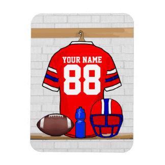 Jersey azul blanco rojo personalizado del fútbol imanes rectangulares