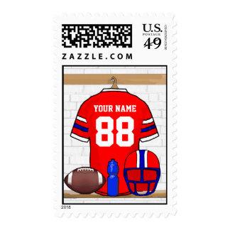 Jersey azul blanco rojo personalizado del fútbol sellos