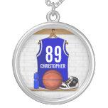 Jersey azul personalizado del baloncesto pendiente personalizado
