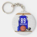 Jersey azul personalizado del baloncesto llavero