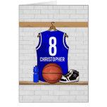 Jersey azul personalizado del baloncesto tarjeton