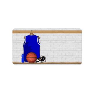 Jersey azul y blanco del baloncesto etiquetas de dirección