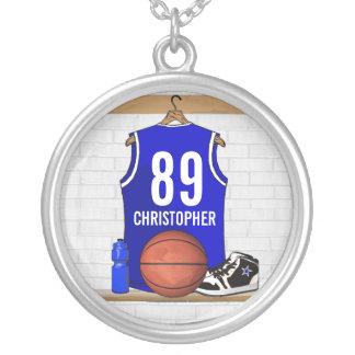 Jersey azul y blanco personalizado del baloncesto collar plateado