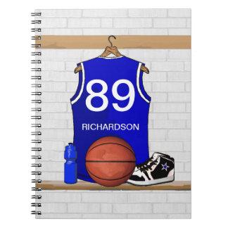 Jersey azul y blanco personalizado del baloncesto libreta