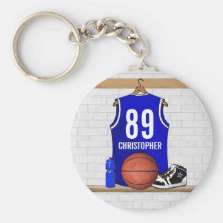 Jersey azul y blanco personalizado del baloncesto llavero redondo tipo pin