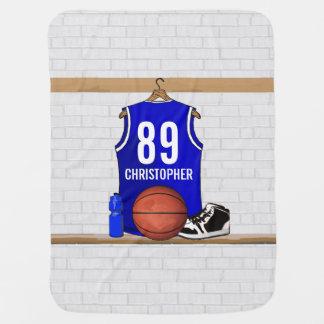 Jersey azul y blanco personalizado del baloncesto mantita para bebé