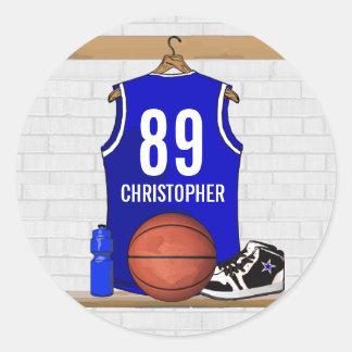 Jersey azul y blanco personalizado del baloncesto pegatina redonda