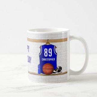 Jersey azul y blanco personalizado del baloncesto taza de café