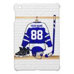 Jersey azul y blanco personalizado del hockey
