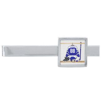 Jersey azul y blanco personalizado del hockey alfiler de corbata plateado