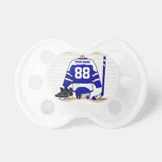 Jersey azul y blanco personalizado del hockey chupetes para bebés