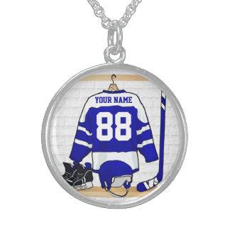 Jersey azul y blanco personalizado del hockey collar de plata de ley
