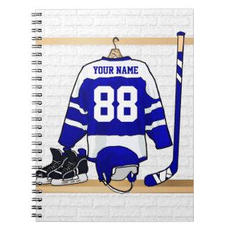 Jersey azul y blanco personalizado del hockey cuaderno