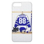 Jersey azul y blanco personalizado del hockey funda iPhone 7 plus