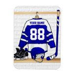 Jersey azul y blanco personalizado del hockey imán foto rectangular