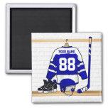 Jersey azul y blanco personalizado del hockey imán cuadrado