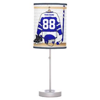 Jersey azul y blanco personalizado del hockey lámpara de mesilla de noche