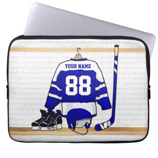Jersey azul y blanco personalizado del hockey mangas computadora
