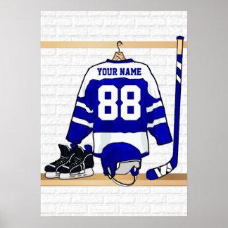 Jersey azul y blanco personalizado del hockey impresiones