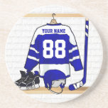 Jersey azul y blanco personalizado del hockey posavaso para bebida
