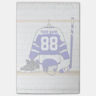 Jersey azul y blanco personalizado del hockey post-it® nota