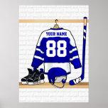 Jersey azul y blanco personalizado del hockey póster