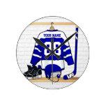 Jersey azul y blanco personalizado del hockey reloj