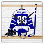 Jersey azul y blanco personalizado del hockey reloj de pared