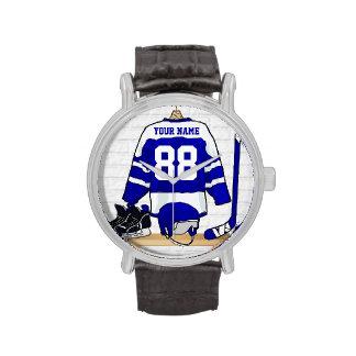 Jersey azul y blanco personalizado del hockey reloj de mano