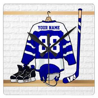 Jersey azul y blanco personalizado del hockey reloj cuadrado