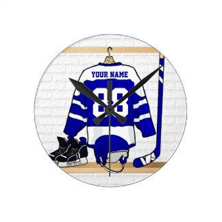 Jersey azul y blanco personalizado del hockey reloj redondo mediano