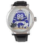 Jersey azul y blanco personalizado del hockey relojes de pulsera