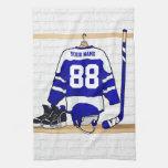 Jersey azul y blanco personalizado del hockey toallas de cocina