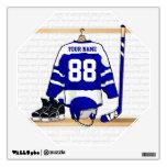 Jersey azul y blanco personalizado del hockey vinilo decorativo