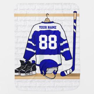 Jersey azul y blanco personalizado del hockey mantas de bebé