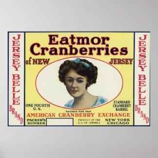 Jersey Belle Eatmor Cranberries Brand Label Posters