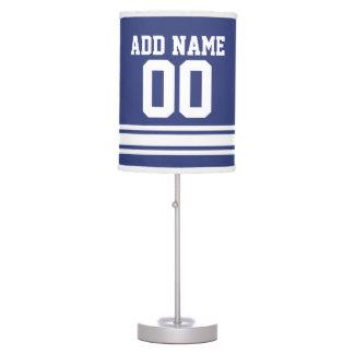 Jersey blanco azul del fútbol con número conocido  lámpara de escritorio