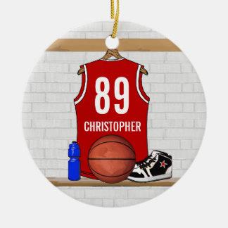 Jersey blanco rojo personalizado del baloncesto adorno navideño redondo de cerámica